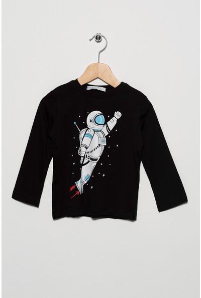 Zepkids Erkek Çocuk Astronot Baskılı Uzun Kol Tshirt 2-5 Yaş