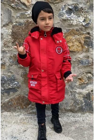 Riccotarz Erkek Çocuk Kapüşonlu Spiderman Armalı Kırmızı Mont