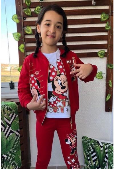 Riccotarz Kız Çocuk Minnie 3'lü Kırmızı Eşofman Takım