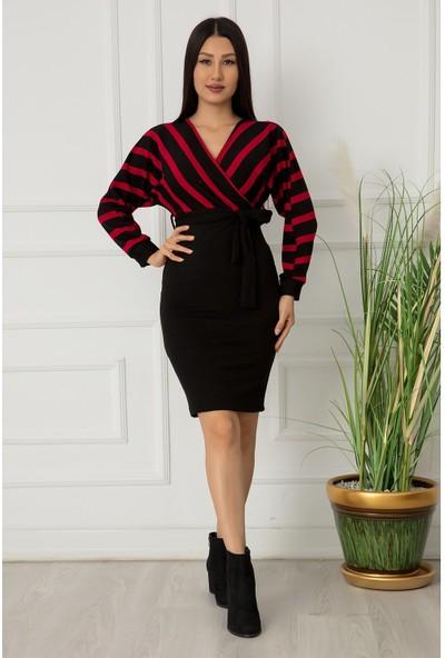 Kalopya Bayan Kruvaze Alt Düz Akrilik Elbise 0215