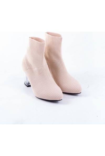 Tuğrul Ayakkabı Triko Şeffaf Ökçe Topuklu Ten Kadın Bot