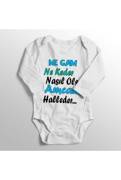 Limon Unisex Bebek Beyaz Ne Gam Ne Keder Nasıl Olsa Amcam Halleder Baskılı Bebek Zıbını