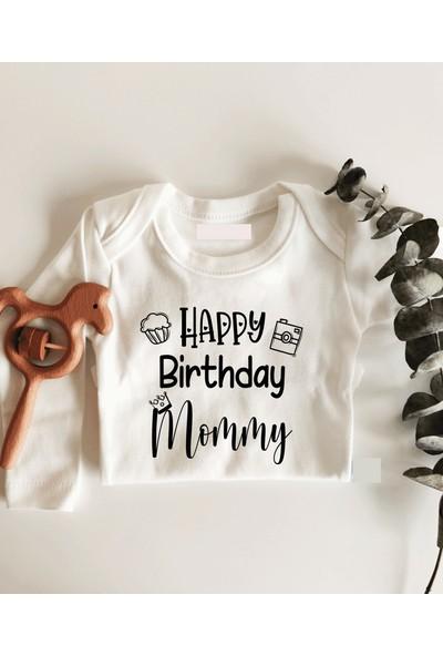Limon Happy Birthday Mommy Kraliçe Taçlı Uzun Kol Çıtçıtlı Organik Bebek Body