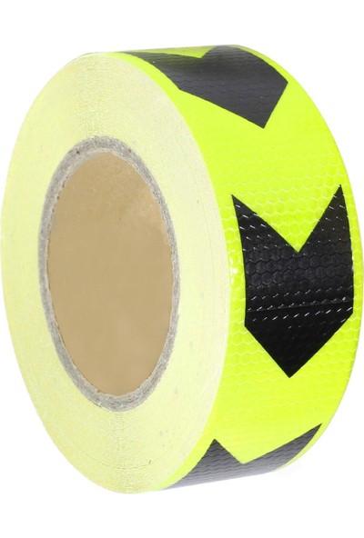 Badem10 Reflektörlü Reflektif Fosforlu Şerit Bant 5 cm Eninde Sarı-Siyah İkaz Bandı (3 METRE)