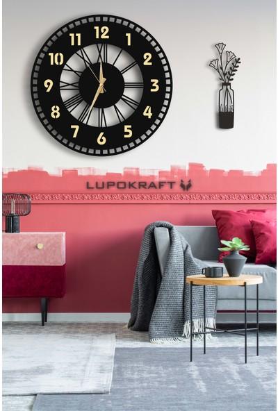 Lupokraft Dekoratif Aynalı Duvar Saati 50 x 50 cm + Vazo Tablo