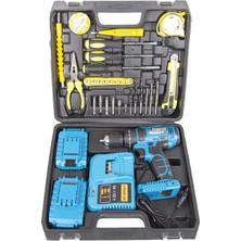 Graizer Alman Technology 56 V 5 Ah Darbeli Çift Akülü Şarjlı Vidalama Matkap 32 Parça Hobi Set Mavi