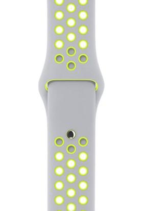 Quse Apple Watch Seri 7 6 5 4 3 2 1 SE 38mm-40mm-41mm S/M Delikli Spor Silikon Kordon