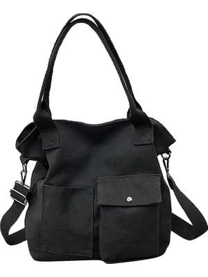 Hong Store Unisex Moda Katı Yumuşak Rahat Totel Çanta Kanvas Çanta Messenger Çanta Omuz Çantası (Yurt Dışından)