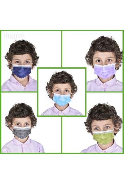Hcare Type Iır Rengarenk Medikal Çocuk Maske 50'li