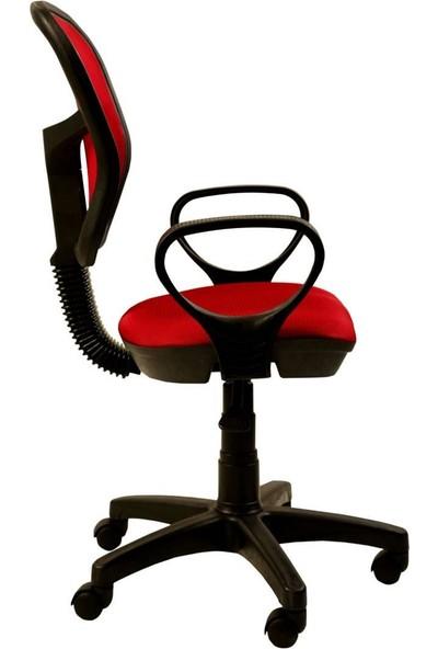 Remaks Fileli Kollu Ofis Koltuğu, Çalışma Koltuğu, Bilgisayar Koltuğu - Kırmızı