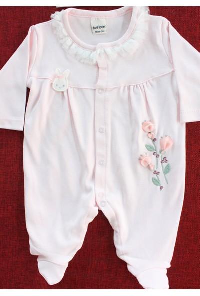 Twetoon Kız Bebek Tavşan Şapkalı Çiçek Detaylı Tulum Seti