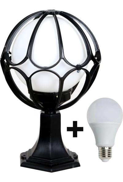 Aral LED 20 Lik Papatya Siyah Renk Set Üstü Bahçe Aydınlatma Armatürü+ 1 Adet 10 Watt LED Ampul