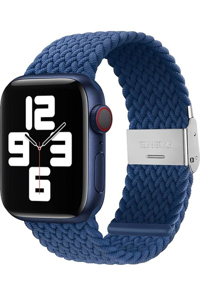 Quse Apple Watch Seri 7 6 5 4 3 2 1 SE 42mm-44mm-45mm Ayarlanabilir Klipsli Örgü Solo Loop Kordon