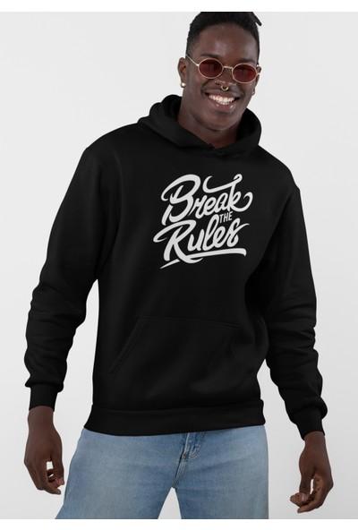 Grif Erkek Break The Rules Baskılı Kapüşonlu Sweatshirt