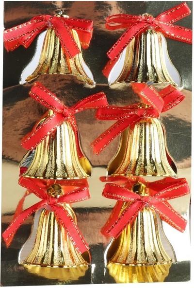 Beysüs Yılbaşı Çam Ağacı Süsü Çan Gold 4 cm Kırmızı Kurdelalı