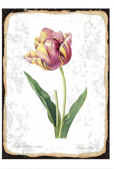 Tablomega Pembe Çiçek Dekoratif Ahşap Tablo