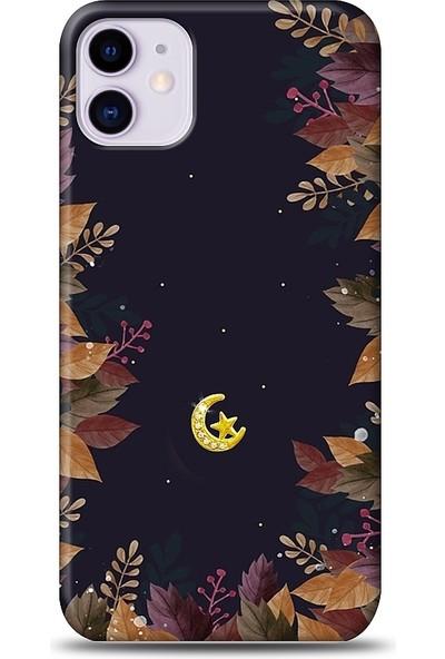 Eiroo iPhone 11 Ay Yıldız Taşlı Baskılı Tasarım Kılıf