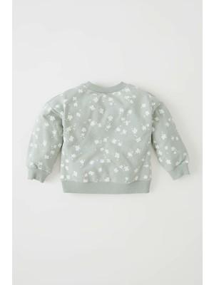 DeFacto Kız Bebek Regular Fit Bisiklet Yaka Desenli Sweatshirt W0759A221AU
