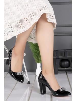 Ayakland 137029-2206 37 Rugan Taşlı 8 cm Topuk Kadın Ayakkabı Siyah