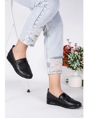 Woggo Pnt 449036 Cilt Günlük Kadın Babet Ayakkabı Siyah