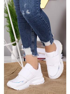 Woggo Pnt 333033 Günlük Cırtlı Kadın Spor Ayakkabı Beyaz