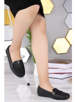 Woggo Pnt 295020 Cilt Günlük Kadın Babet Ayakkabı Siyah