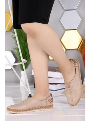 Woggo Pnt 302029 Günlük Dikişli Kadın Babet Ayakkabı Bej