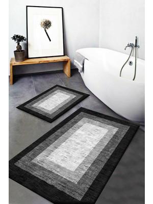 Else Halı Else Gri Siyah Beyaz Kutulu Desenli Yıkanabilir Kaymaz Banyo Paspası 2li Klozet Takımı Halısı Dts-3