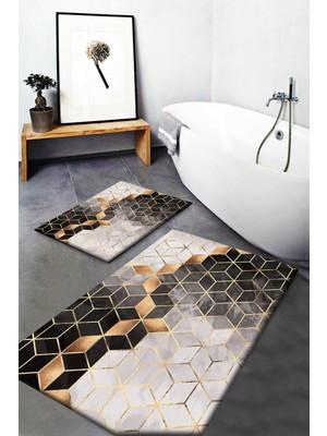 Else Halı Else Siyah Sarı Kutular Desenli Yıkanabilir Kaymaz Banyo Paspası 2li Klozet Takımı Halısı Dts-33