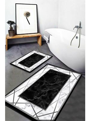Else Halı Else Siyah Gri Mermer Çizgi Desenli Yıkanabilir Kaymaz Banyo Paspası 2li Klozet Takımı Halısı Dts-19