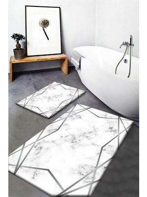 Else Halı Else Gri Beyaz Siyah Çizgi Mermer Yıkanabilir Kaymaz Banyo Paspası 2li Klozet Takımı Halısı Dts-31