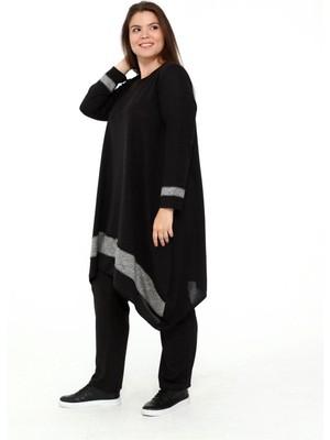 Roxxlen Kadın Siyah Büyük Beden Tunik - 4652
