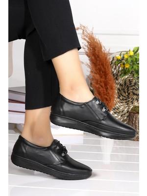 Woggo P 22 Rahat Konfor Özel Topuk Jeli Anne Günlük Ayakkabı Siyah