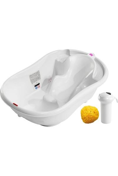 Okbaby Onda Evol Banyo Küveti ; Splash Bebek Duşu ; Doğal Banyo Süngeri No.10 / Beyaz