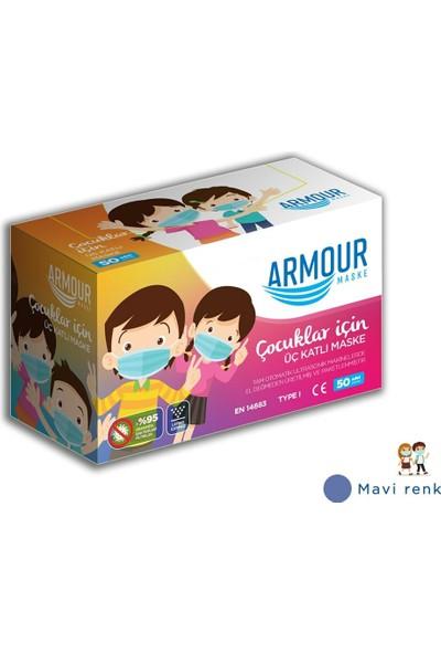 Armour Meltblown Filtreli Tek Kullanımlık Çocuk Cerrahi Yüz Maskesi 50 Li 4 Kutu (200 Adet )