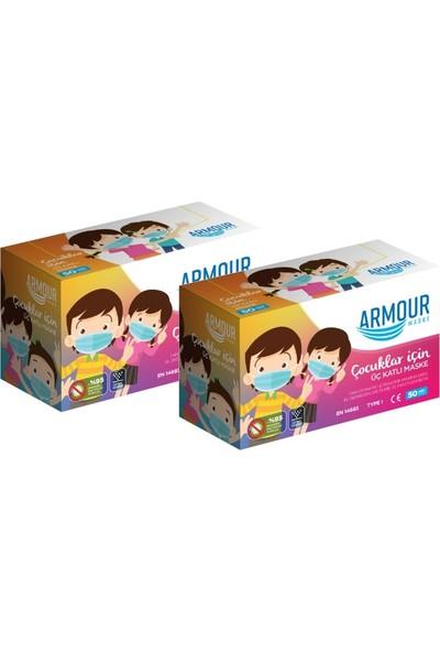 Armour Meltblown Filtreli Tek Kullanımlık Çocuk Cerrahi Yüz Maskesi 50 Li 2 Kutu 100 Adet