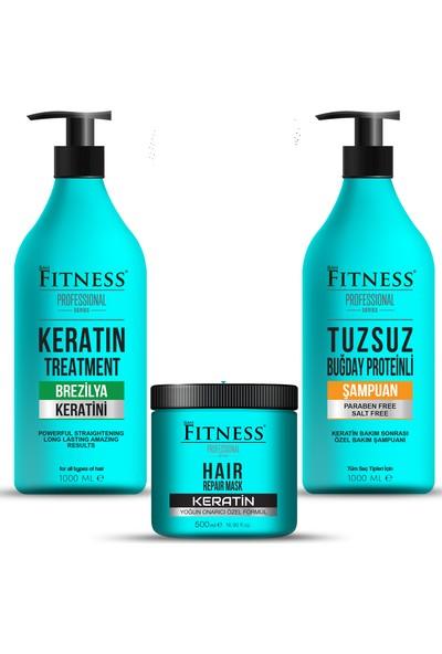 Fitness Professional Saç Düzleştirici Keratin Bakımı + Tuzsuz Şampuan + Onarıcı Keratin Maskesi