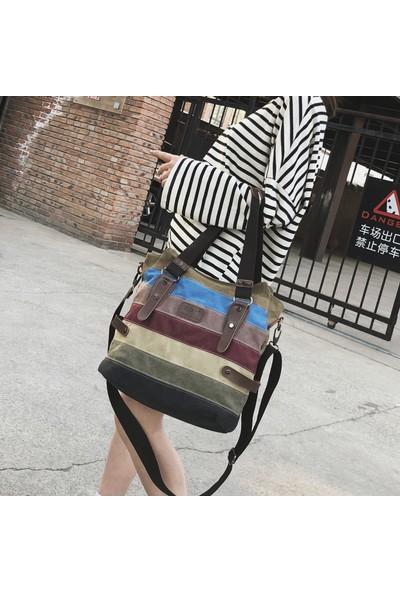 Olevs Kadın Retro Rahat Hobo Tuval Çok Cepli Günlük Cüzdan Üst Saplı Omuz Çantası Messenger Çanta Alışveriş Çantası (Yurt Dışından)