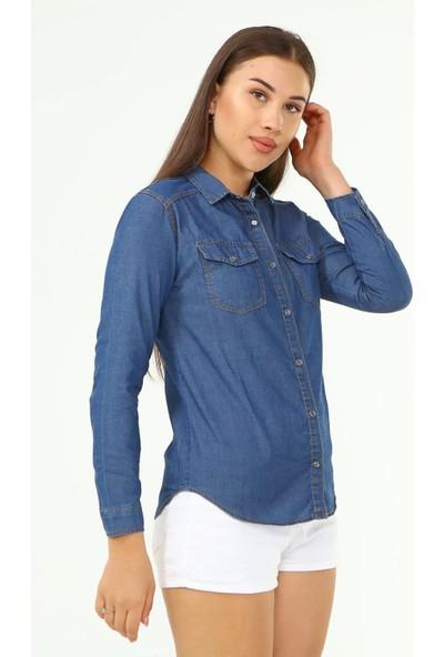 1moda1tarz Mavi Cep Detaylı Denim Gömlek Uzun Kollu Ön Çıt Çıt Kapama