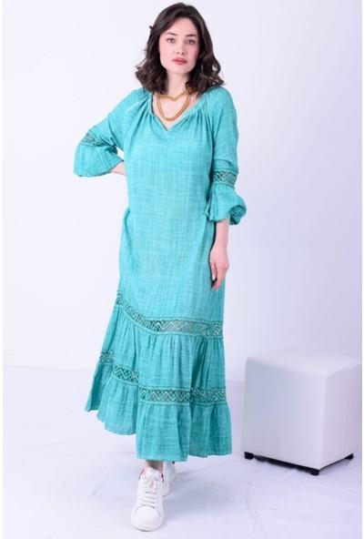 1moda1tarz Kadın Keten Kumaş V Yaka Kol ve Beden Dantel Detay Yıkamalı Uzun Kollu Elbise