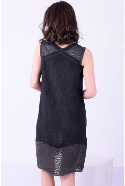 1moda1tarz Kadın Keten Kumaş Yaka ve Etek Dantel Güpür Kolsuz Yağ Yıkamalı Elbise
