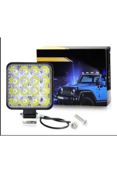 16 LED Kare Off Road Iş Makinası Sis Lambası Sis Farı