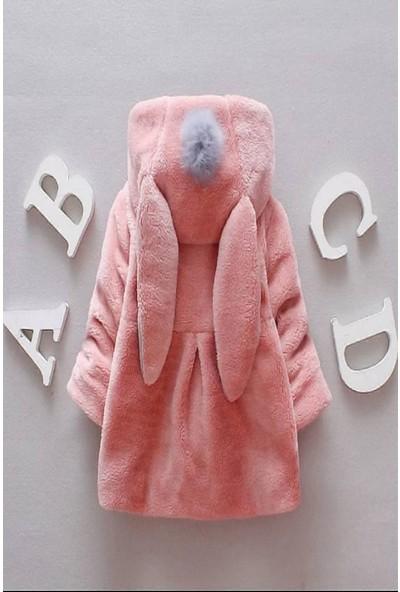 Riccotarz Kız Çocuk Tavşan Kulaklı Pembe Peluş Ceket