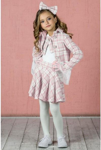 Riccotarz Kız Çocuk Taş Broşlu Pudra Ekose Etekli Takım