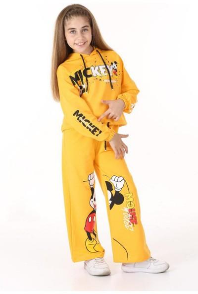 Riccotarz Kız Çocuk Belden Bağlamalı Mickey Sarı Eşofman Takım