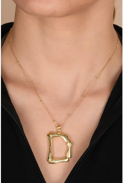 ABK Fashion Altın Kaplama Bambu Desenli D Harfi Gümüş Kolye
