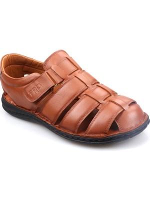Tardelli 180 Erkek Büyük Numara (45-48) Ortapedik Masaj Tabanlı Siyah Deri Sandalet Ayakkabı