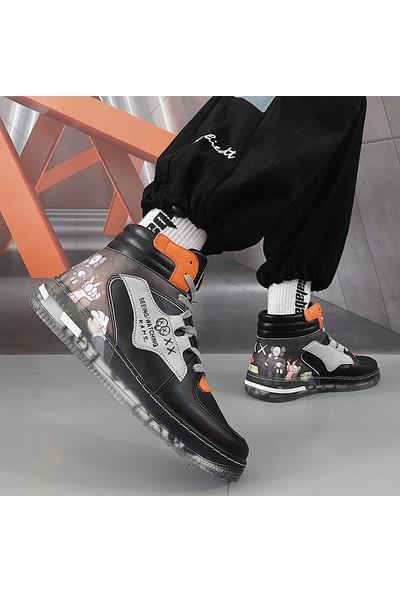 Sıtong Siyah Turuncu Erkek Ayakkabı Şeffaf Taban Öğrenci Ayakkabı Bot (Yurt Dışından)