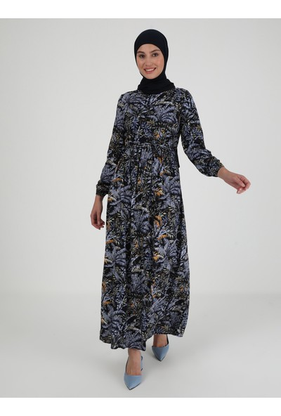 Ecesun Çiçek Desenli Elbise - Lacivert - Ecesun