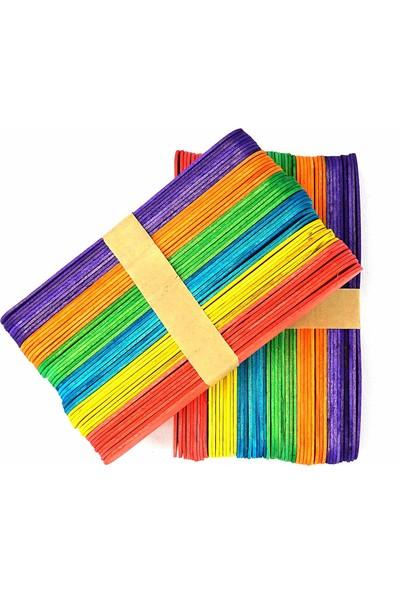 Hobialem 500 Adet Renkli Dil Çubuğu Dondurma Çubuğu Geniş Doktor Çubuğu Abeslang Maket Çubuğu